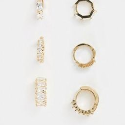 Reclaimed vintage inspired gold plated huggie hoop pack with crystal detail | ASOS (Global)