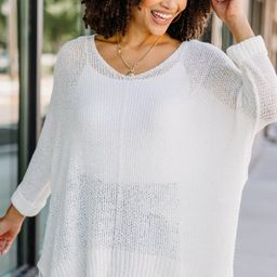 Don't Waste A Moment Off White Oversized Sweater | The Mint Julep Boutique
