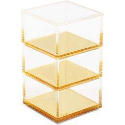 Okuna Outpost 3 Tier Clear Acrylic Stacking Desk Organizer with Gold Bottom (3 x 3 x 5.3 In) | Target