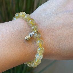 Golden Rutilated Quartz Gemstone Bracelet with Pineapple Charm | Etsy | Etsy (US)