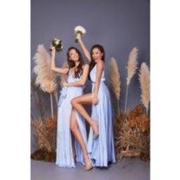 Light Blue Bridesmaid Dress/Wedding Guest Dress/Silk Satin A-Line Maxi Wrap Dress/Beach Boho Dress/E | Etsy (UK)
