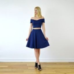 COCO Elegant Two Piece Dress Crop Top and Skater Skirt Set in Navy Blue. Womens Vintage Style Summer   Etsy (US)