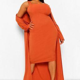 Plus Rib Midi And Kimono Dress | Boohoo.com (US & CA)