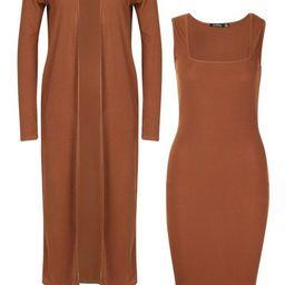 Ribbed Midi Dress and Duster Set | Boohoo.com (US & CA)