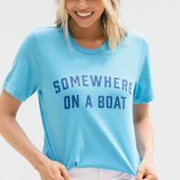Somewhere On A Boat Heather Aqua Blue Graphic Tee   The Mint Julep Boutique