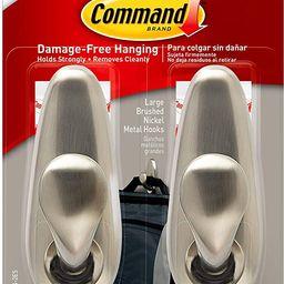 Command Large Forever Classic Metal Hook, Brushed Nickel, 2-Hooks, 4-Strips, Decorate Damage-Free | Amazon (US)
