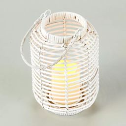 Lakeside Wicker and Rattan LED Candle Lantern with Cage Look   Target