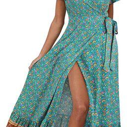 STYLEWORD Women's Bohemian V Neck Split Maxi Dress Short Sleeve Summer Dress Beach Party Floral T...   Amazon (US)
