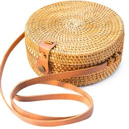 Handwoven Round Rattan Bag Shoulder Leather Straps Natural Chic Hand NATURAL NEO   Amazon (US)