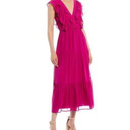 Double Ruffle V-Neck Tiered Maxi Dress | Dillards