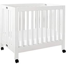 Babyletto Origami Mini Portable Crib with Wheels in White, 2 Adjustable Mattress Positions, Green... | Amazon (US)