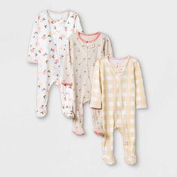 Baby Girls' 3pk Fruit Print Zip-Up Sleep N' Play - Cloud Island™ Yellow/Brown/White | Target