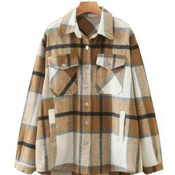 Mantel mit Karo Muster, Taschen und Knöpfen   SHEIN