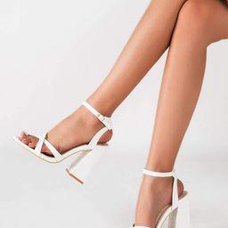 Cross Strap Chunky Heeled Sandals | SHEIN