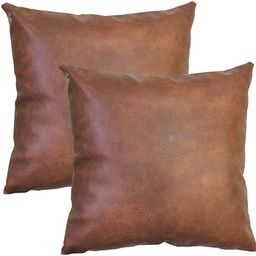 JOJUSIS Modern Leather Throw Pillow Covers for Couch Sofa Bed Set of 2 100% Faux Leather Dark Bro... | Amazon (US)