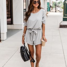 Ready For Anything Grey Romper | The Pink Lily Boutique