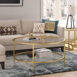 "Henn&Hart Round coffee table, Gold, 17"" H x 36"" L x 36"" W   Amazon (US)"