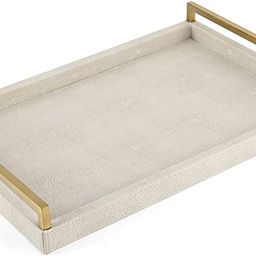 WV Ivory Faux Shagreen Decorative Tray PU Leather with Brushed Gold Stainless Steel Handle for Co... | Amazon (US)