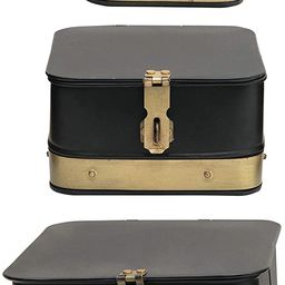 Creative Co-Op Decorative Galvanized Metal Brass Accents, Set of 3 Boxes, Black | Amazon (US)