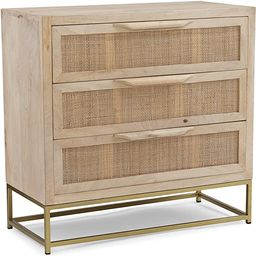 Powell Gold Base 3 Drawer Danika Cabinet, Natural Rattan 3 | Amazon (US)