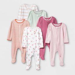 Baby Girls' 6pk Sleep N' Play - Cloud Island™ Dark Pink | Target