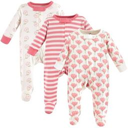 Touched by Nature Baby Girl Organic Cotton Zipper Sleep and Play 3pk, Tulip | Target