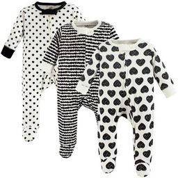 Touched by Nature Baby Girl Organic Cotton Zipper Sleep and Play 3pk, Heart | Target
