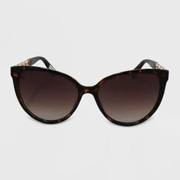 Women's Cateye Plastic Metal Combo Sunglasses - A New Day™ Brown | Target