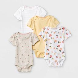 Baby Girls' 4pk Fruit Print Short Sleeve Bodysuit - Cloud Island™ Yellow/Brown/White | Target