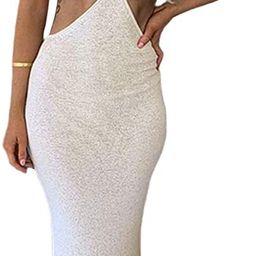 NUFIWI Womens Sexy Knitted Cut Out Spaghetti Strap Long Dresses Halter Neck Backless Maxi Dress C... | Amazon (US)