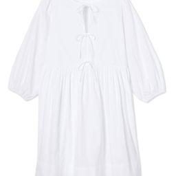 Poplin Triple Tie Dress in White | LAKE Pajamas