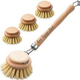 4er Set Spülbürste aus Holz mit Naturfaser, Sparset aus Reinigungsbürste und 3 Bürstenköpfen... | Amazon (DE)