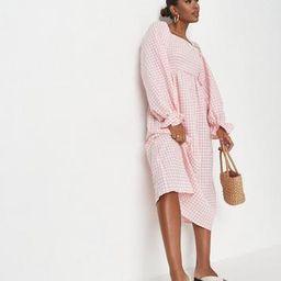 Pink Gingham Print Shirred Bust Midi Smock Dress | Missguided (US & CA)
