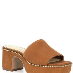 Roemer Ball Chain Detail Suede Square Toe Platform Mules   Dillards