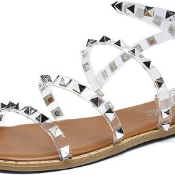 Katliu Women's Flat Sandals Strappy Studded Sandals Gladiator Sandals with Ankle Strap | Amazon (US)