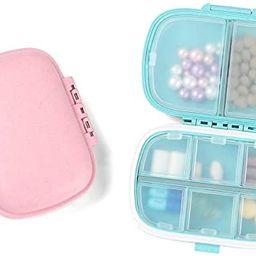 2 PCS Travel Pill Case, 8 Compartments Portable Pills Organizer Small Daily Pill Box Medicine Vit... | Amazon (US)