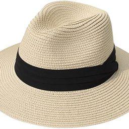 Lanzom Women Wide Brim Straw Panama Roll up Hat Belt Buckle Fedora Beach Sun Hat UPF50+ | Amazon (US)