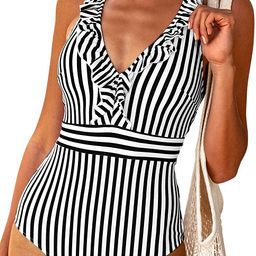 CUPSHE Women's V Neck One Piece Swimsuit Ruffled Back Cross Swimwear | Amazon (US)