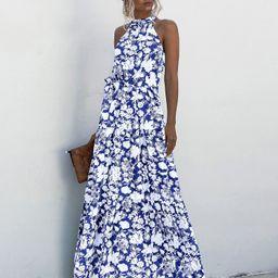 Halter Belted Ruffle Hem Floral Dress | SHEIN
