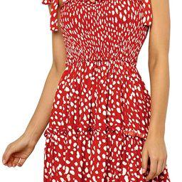 Romanstii Women's Mini Dress Strappy Backless Pleated Flare Ruffle Polka Dot Casual Beach Dresses | Amazon (US)