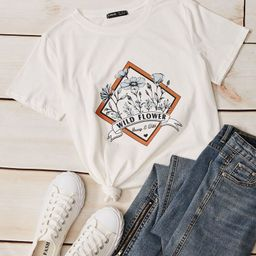 Letter & Floral Graphic Tee   SHEIN