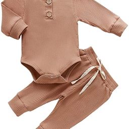 Newborn Baby Boy Girl Clothes Long Sleeve Button Romper Drawstring Pants Outfits Unisex Baby Clot...   Amazon (US)