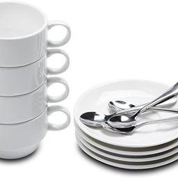 Aozita Espresso Cups and Saucers with Espresso Spoons, Stackable Espresso Mugs,12-piece 2.5-Ounce... | Amazon (US)