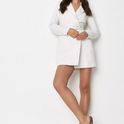 White Boucle Buckle Belted Blazer Dress | Missguided (US & CA)