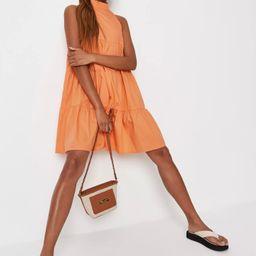 Orange Poplin Tiered High Neck Smock Dress | Missguided (US & CA)
