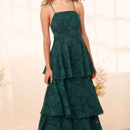 Loving Celebration Emerald Green Lace-Up Tiered Maxi Dress | Lulus (US)