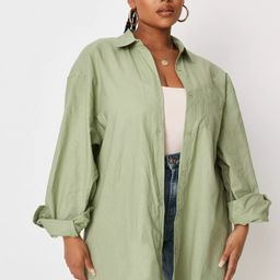 Sarah Ashcroft x Missguided Plus Size Sage Pastel Linen Mix Oversized Shirt | Missguided (US & CA)