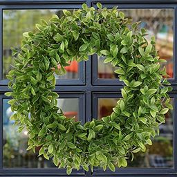 Artificial Green Leaves Wreath Boxwood Wreath Outdoor Farmhouse Greenery Wreath for Front Door Ho... | Amazon (US)