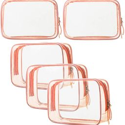 5 Pack Clear PVC Zippered Toiletry Carry Pouch TSA Approved Toiletry Bag Portable Cosmetic Makeup... | Amazon (US)