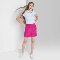 Women's Button-Front Cord Mini A-Line Skirt - Wild Fable™   Target